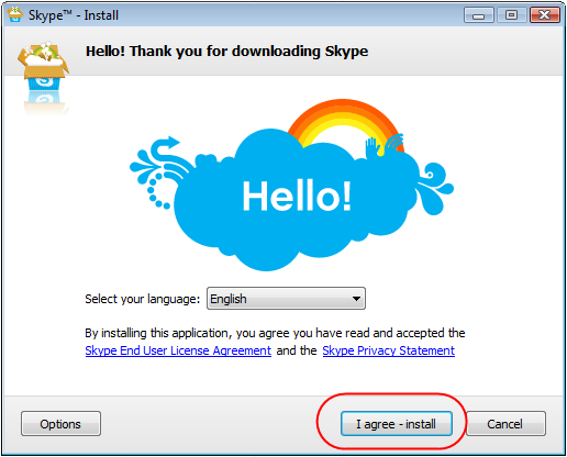 Diagram 6. Accepting the Skype TOS