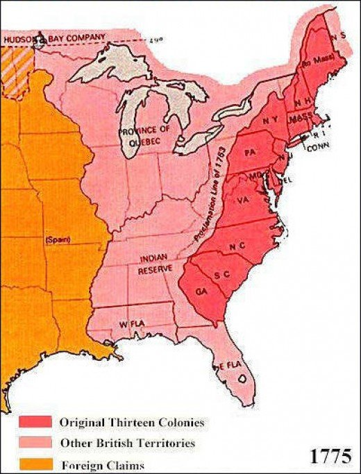 Thirteen original Colonies & Indian Territory