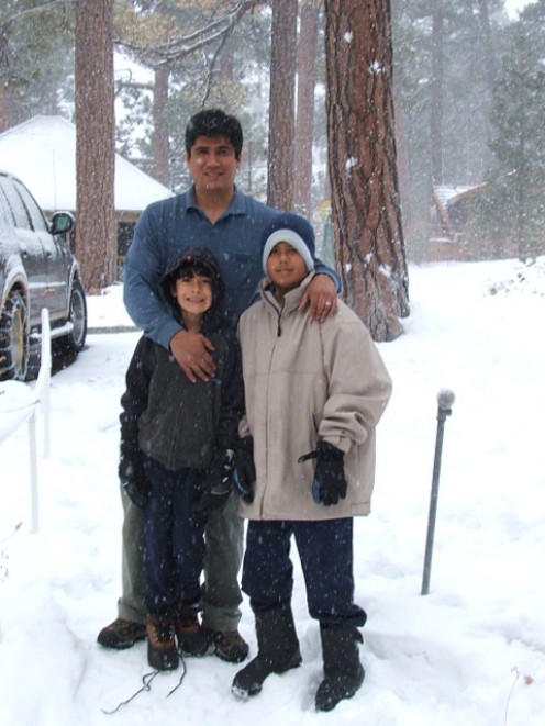 Me and my kids at the snow.