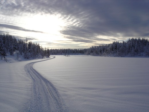 Snowmobile track to the Igloo Village