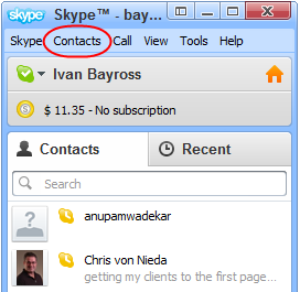 Diagram 1. Clicking the Contacts link in Skype