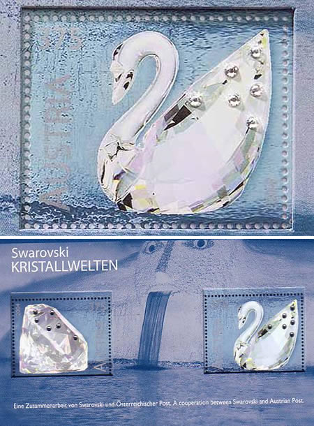 Postage stamps with real crystals!