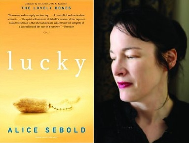 Left: Cover of Lucky Right: Author Alice Sebold