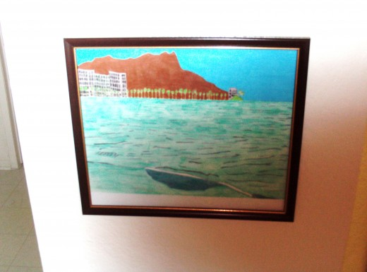 Here is the framed colored pencil sketch of Waikiki, which has a techno color theme to it.  This was achieved by using the vibrant hued colored pencils.