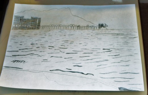 Here I have finished adding the details to the waves of the Pacific Ocean, which wash up against the shore of Waikiki.