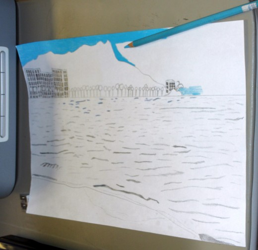 In this step of the sketching process I am using a sky blue colored pencil to fill in the brilliant color of the Oahu sky.  I used a vibrant colored pencil to achieve the techno color theme of a 1950s film, and because I enjoy creating bold pictures