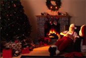 Santa Sleeping By Fireplace