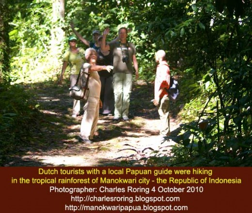 Dutch tourists were hiking in the rainforest of the Table Mountain of Manokwari city - the Republic of Indonesia