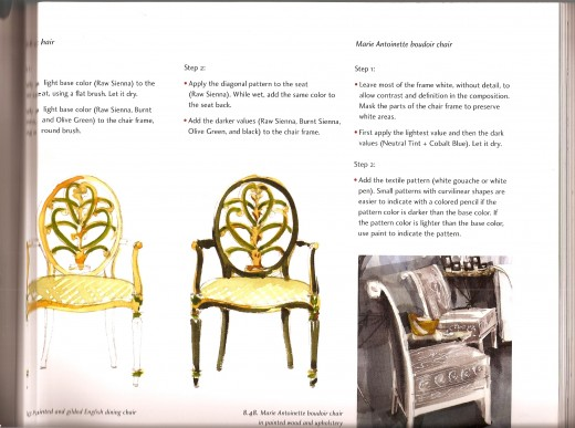Step by step instructions for illustrating complicated pieces of furniture.