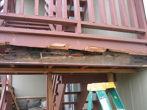 Bad Fix- Reinforced dry rot | wood rot with same wood (should be pressure treated)