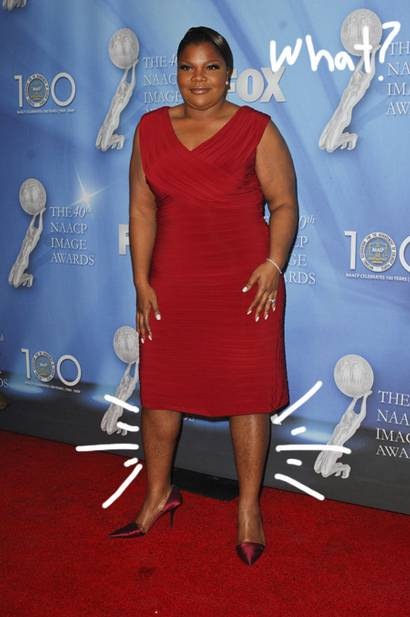 Red dress with V-neckline