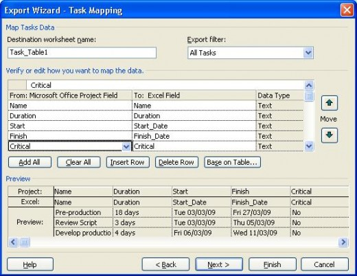 Mapping task information in MS Project