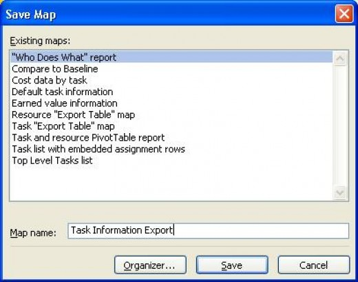 Saving an export Microsoft Project map