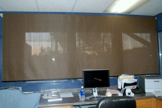 After years of talking about it, my boss finally bought some blinds for the office.  Of course, in typical half-assed fashioned, the blinds are a solid foot too wide.
