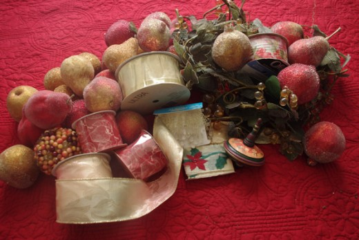 Wreath making supplies and decorations - photo by RedElf