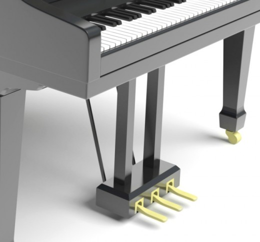 A grand piano usually has three pedals.