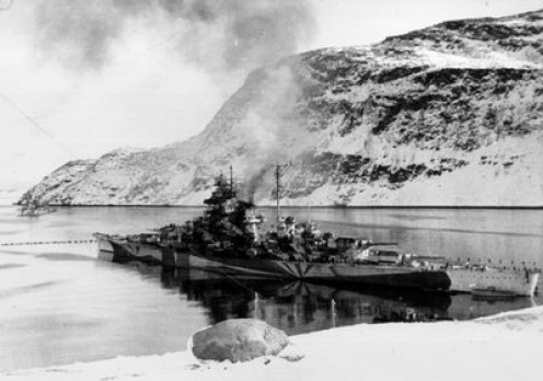 The Tirpitz in it's base at Kaarfjord, Norway in September 1943