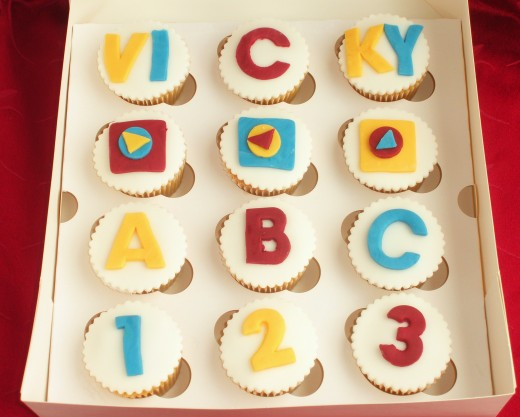 Large Cookie Cutters Used to Create Letters on Cupcakes (Teachers Thank You Gift)