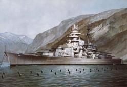 The Tirpitz behind her anti-torpedo nets.