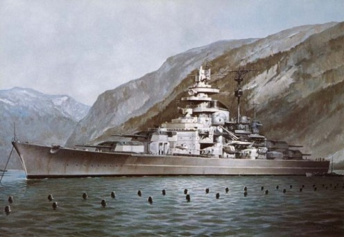 The Tirpitz behind her anti-torpedo nets.