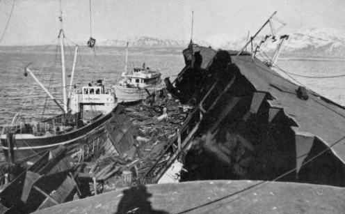 The wreck of the Tirpitz being broken up