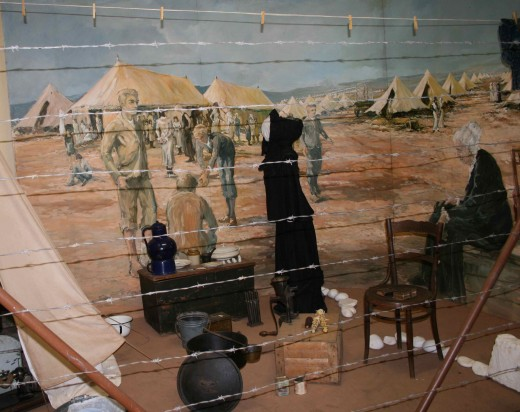 Diarama depicting a scene in a Boer War concentration camp
