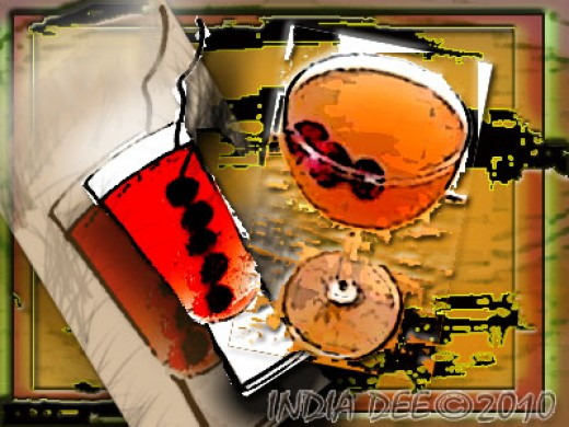 Abstract Cranberry Mimosa Spicy and Romantic Beverage!
