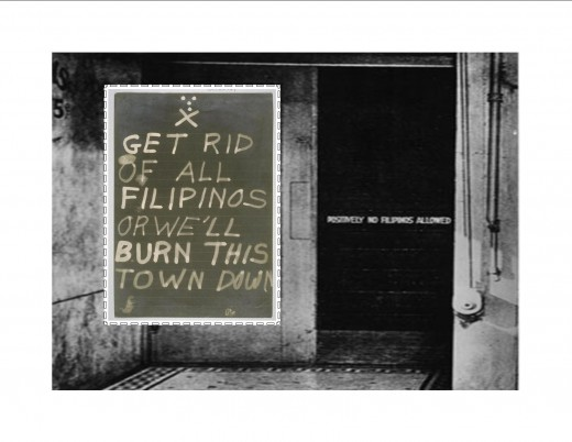 "INSET: One sign from unknown site. FOREGROUND: Sign on door says ""POSITIVELY NO FILIPINOS ALLOWED"""