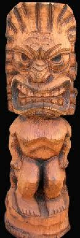 Tiki Gods carved stools from Coconut Palm Trunk