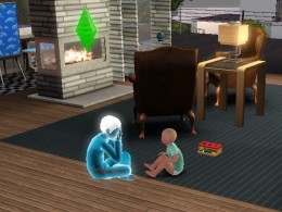 A ghost child Sim plays peek-a-boo with his normal toddler Sim brother.