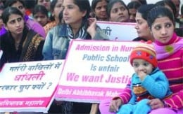 Schools flouting nursery admission rules in winters 2009, allege agitating parents. Nursery admissions in Delhi has remained an issue since several years. You can see in this pic from 2009 at the time of nursery admissions.