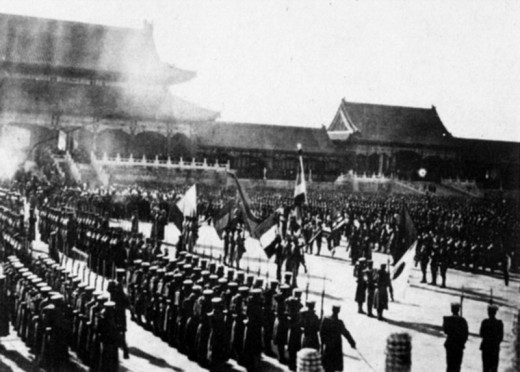 Historic picture showing foreign armies in Beijing's forbidden city during boxer rebellion.