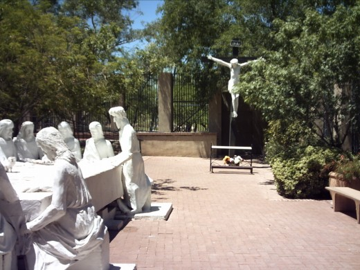 View inside the sculpture garden in Tucson's Garden of Gethsemane Felix Lucero Park.