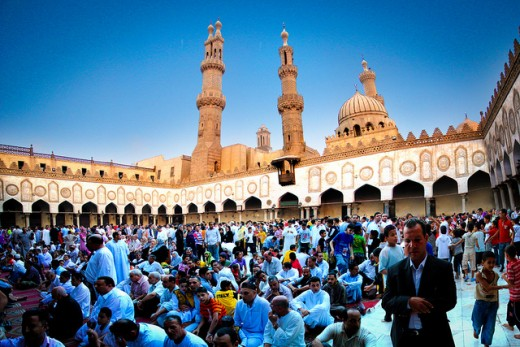 Muslims offering prayer at Al-Azhar mosque.