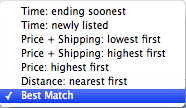 The options for viewing searched for items.