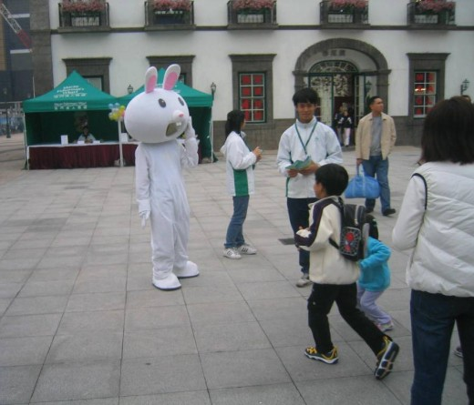 Scary Easter Bunny in Macau
