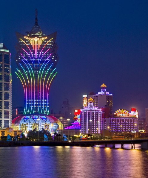 Macau as it appears in glossy travel brochures, showcasing the Grand Lisboa Hotel