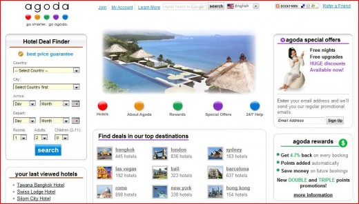 Agoda Website - Has low rates for hotels in Asia, though they provide discounted room rates worldwide.