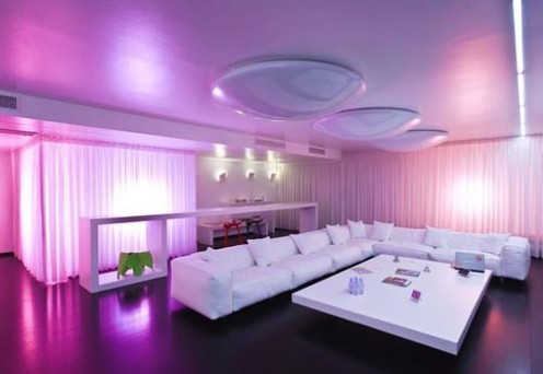 Impressive Pink Scenography Living Room Design
