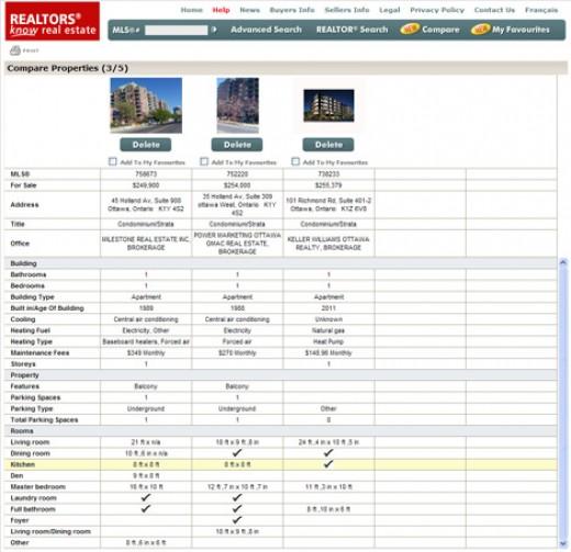 mls.ca - Compare view