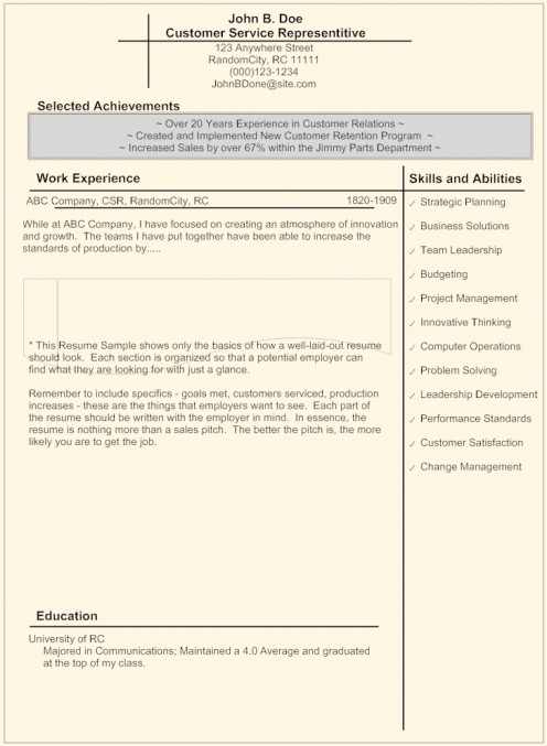 Getting a Job: Layout of a Successful Resume
