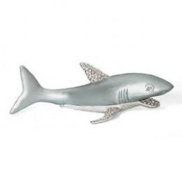 Shark Keepsake Box Set with Swarovski Crystals, Ocean Ring Box, Fish Pill Box, Blue Hinged Jewelry Box