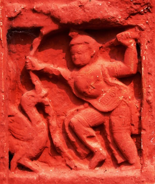 Terracotta art in Ananda Bhairabi temple (Lord Krishna killing Bakasura, the Bird-Demon).