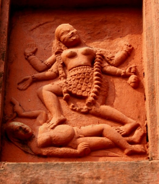 Terracotta art in Ananda Bhairabi temple (Mother Goddess Kali standing on Lord Shiva).
