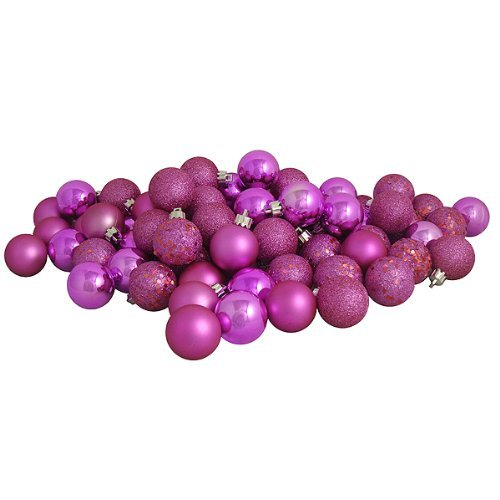 "32ct Bubblegum Pink Shatterproof 4-Finish Christmas Ball Ornaments 3.25"" (80mm)"