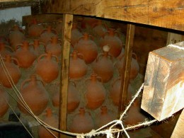 Amphoras in reconstruction of Byzantine era ship