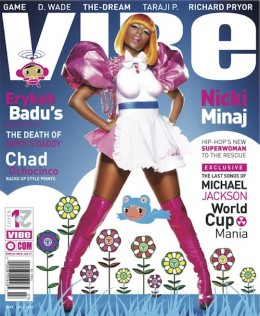 NIcki Minaj is rocking these pink leather thigh high boots on the cover of vibe magazine.