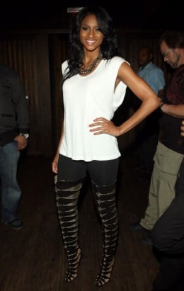 Ciara is killing these thigh high cut outs, they are too cute.
