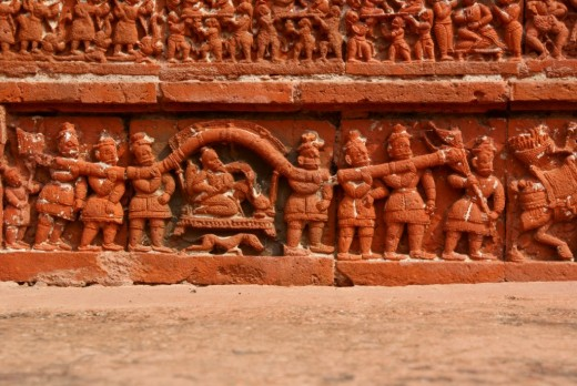Terracotta work (King riding a palanquin), Ramchandra temple