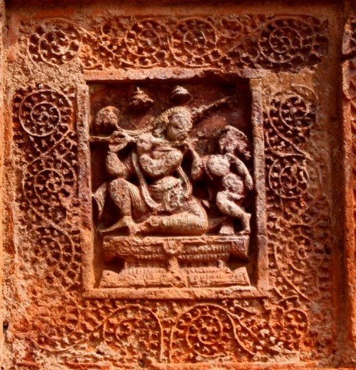 Krishna with Radha, terracotta work at Ramchandra temple 1